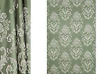 Темно-зеленая портьерная ткань для штор Жаккард с  рисунком