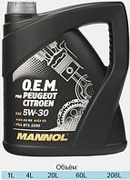 Оригинальное синтетическое моторное масло MANNOL 7703 O.E.M. for Peugeot Citroen 4L