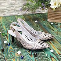 Туфли кожаные перфорированные на шпильке, цвет розовый
