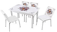 Стол раздвижной обеденный 1014 Buket 189,Комплекты кухонной мебели, кухонный стол и 4 стула.