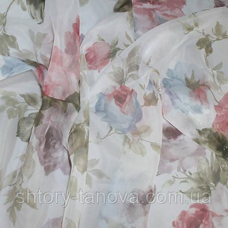 Тюль вуаль принт розы крупные