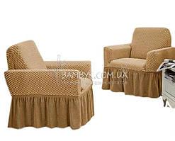 Vip чохол для крісла з оборкою великого розміру Altinkoza стільники (натяжна) бежевий