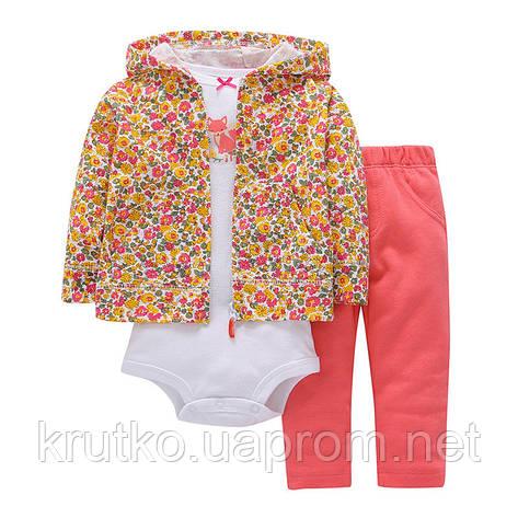 Комплект для девочки 3 в 1 Цветы Berni, фото 2