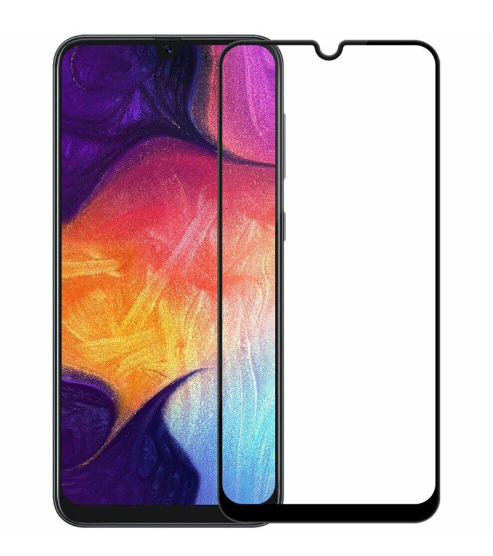 Защитное стекло NZY для Samsung Galaxy A30 / A50 Full Glue Черные рамки (999970)