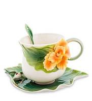 """Фарфоровая чайная пара """"Лягушки и цветы канны"""" (Pavone) FM-82/ 2, фото 1"""