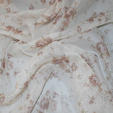 Тюль вуаль принт мелкие розочки беж