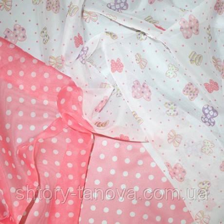 Тюль вуаль принт бантики-горошек розовый