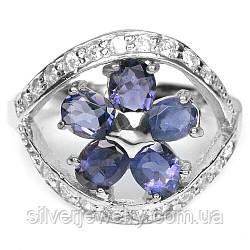 Серебряное кольцо с ИОЛИТОМ (натуральный), серебро 925 пр. Размер 17,25