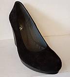 Туфли женские на высокой танкетке из натуральной замши от производителя модель ЛЕ801-2, фото 6