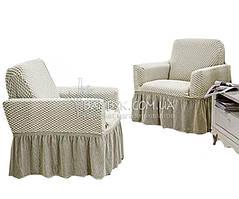 Vip чохол для крісла з оборкою великого розміру Altinkoza стільники (натяжна) крем