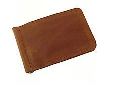 Мужской тонкий кошелек с зажимом GS кожаный рыжий