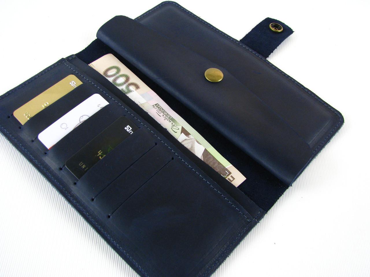 Мужской кожаный кошелек GS синий