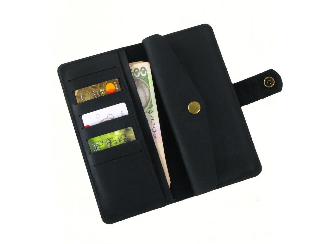 Мужской кожаный кошелек GS черный