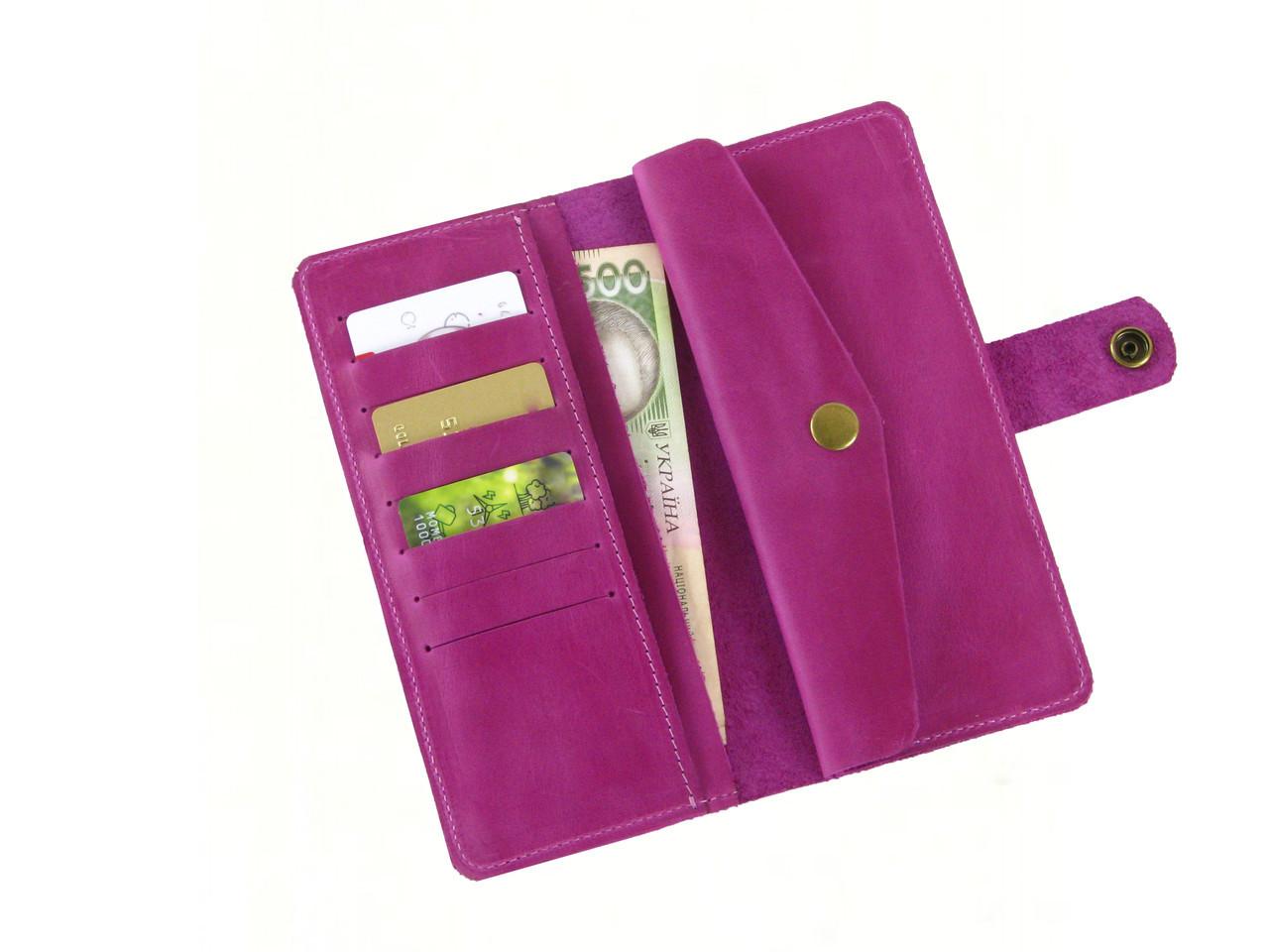 Женский кожаный кошелек GS розовый