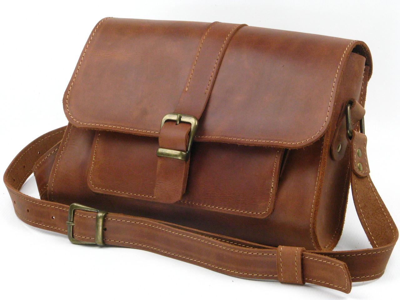 Женская кожаная сумка GS рыжая