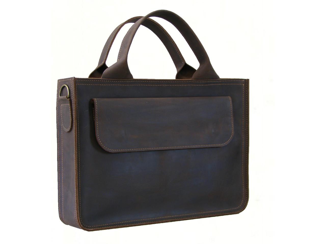 Кожаная мужская сумка для документов и небольшого ноутбука GS коричневая