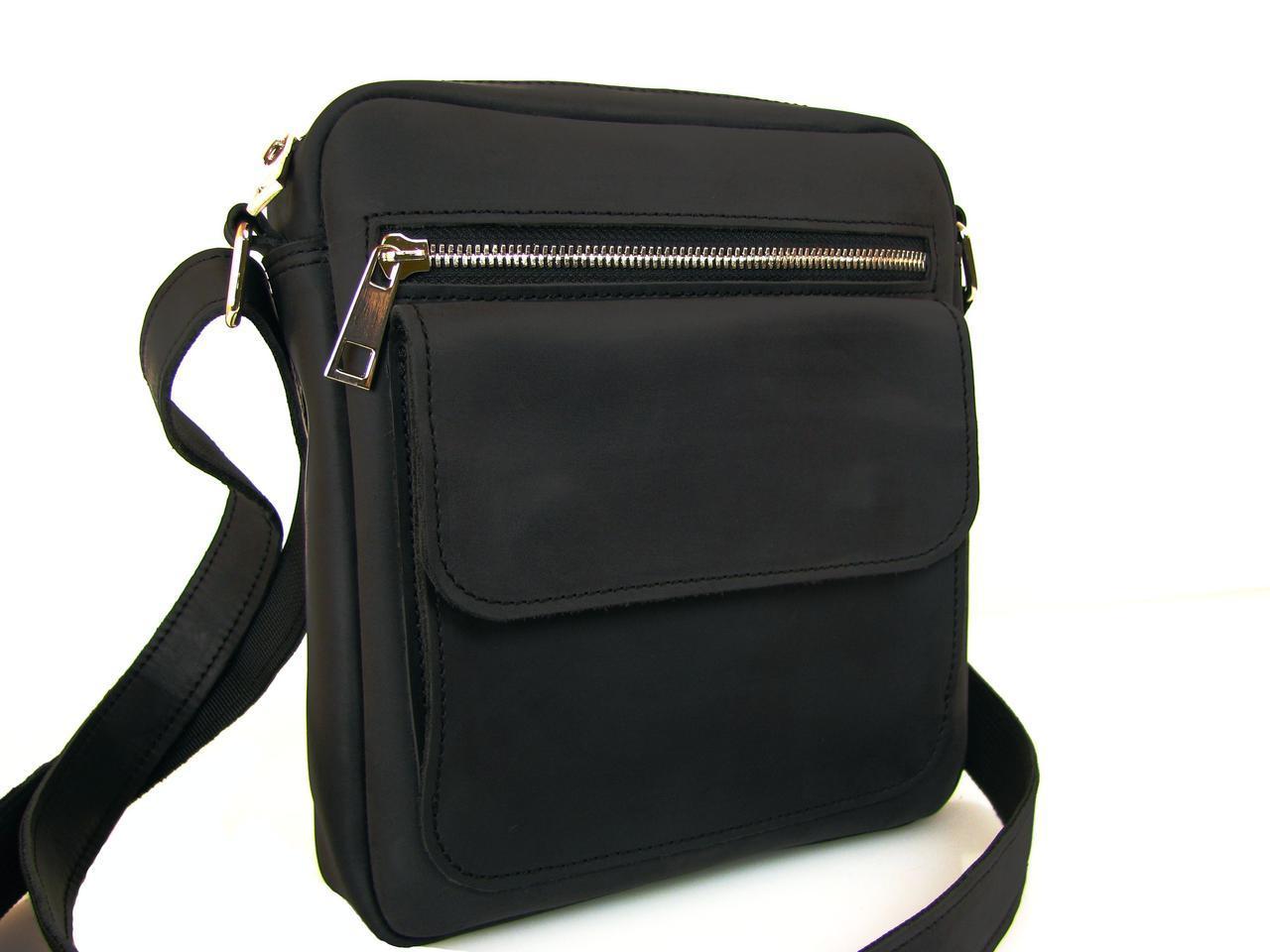 Кожаная мужская сумка GS черная