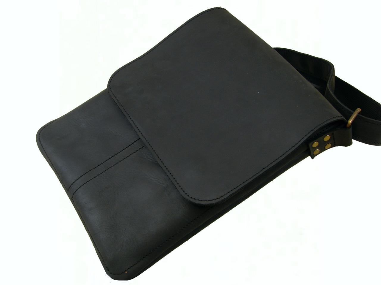 Мужская кожаная сумка - планшет  GS черная