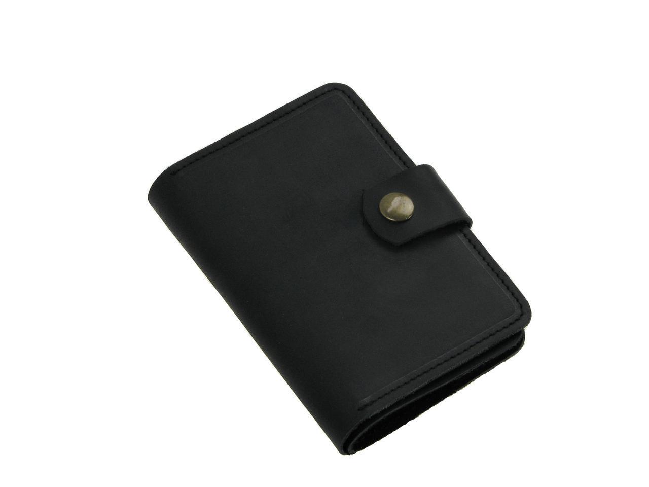 Кожаная обложка для документов GS черная