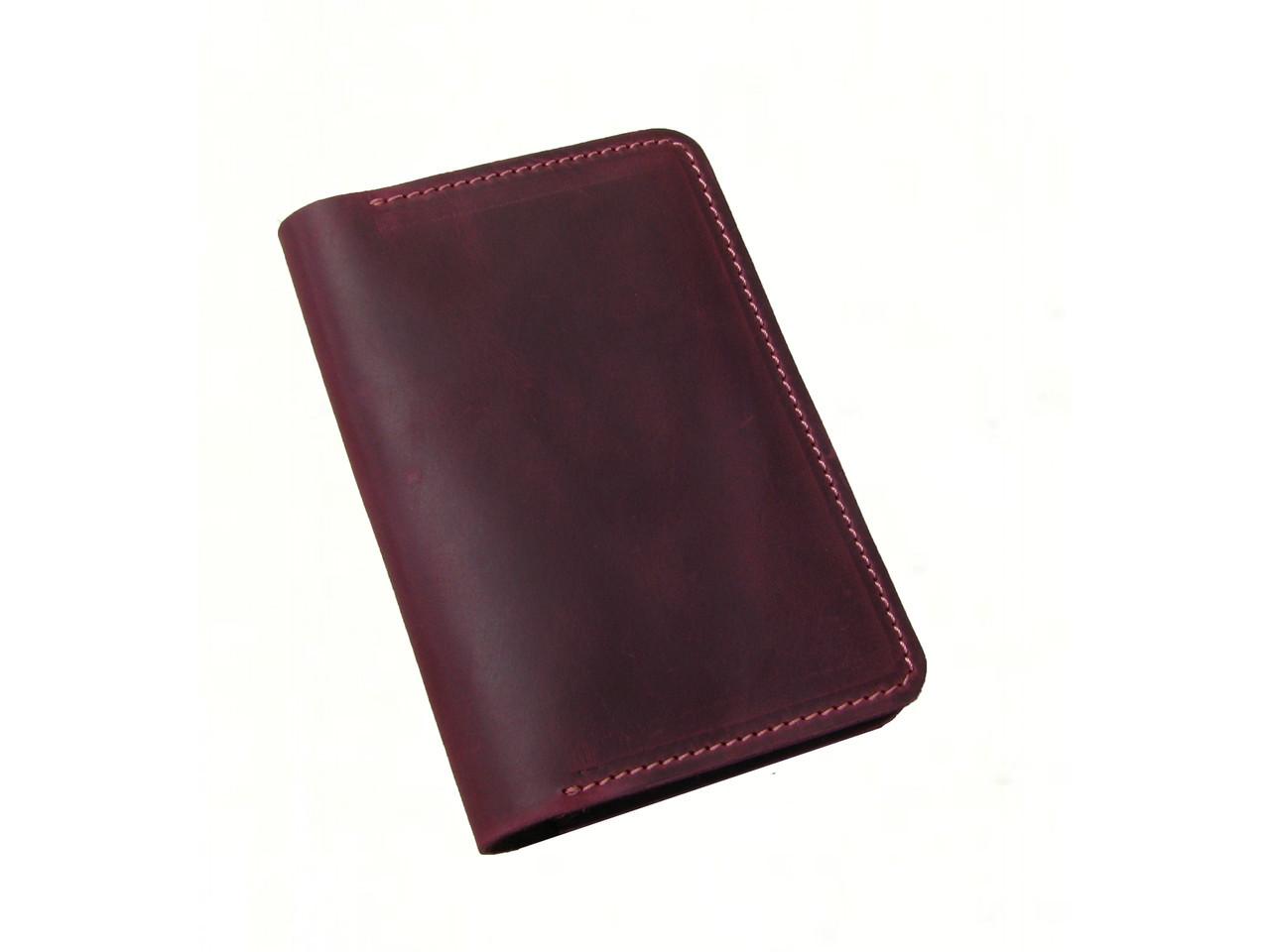 Обложка для паспорта GS кожаная бордовая