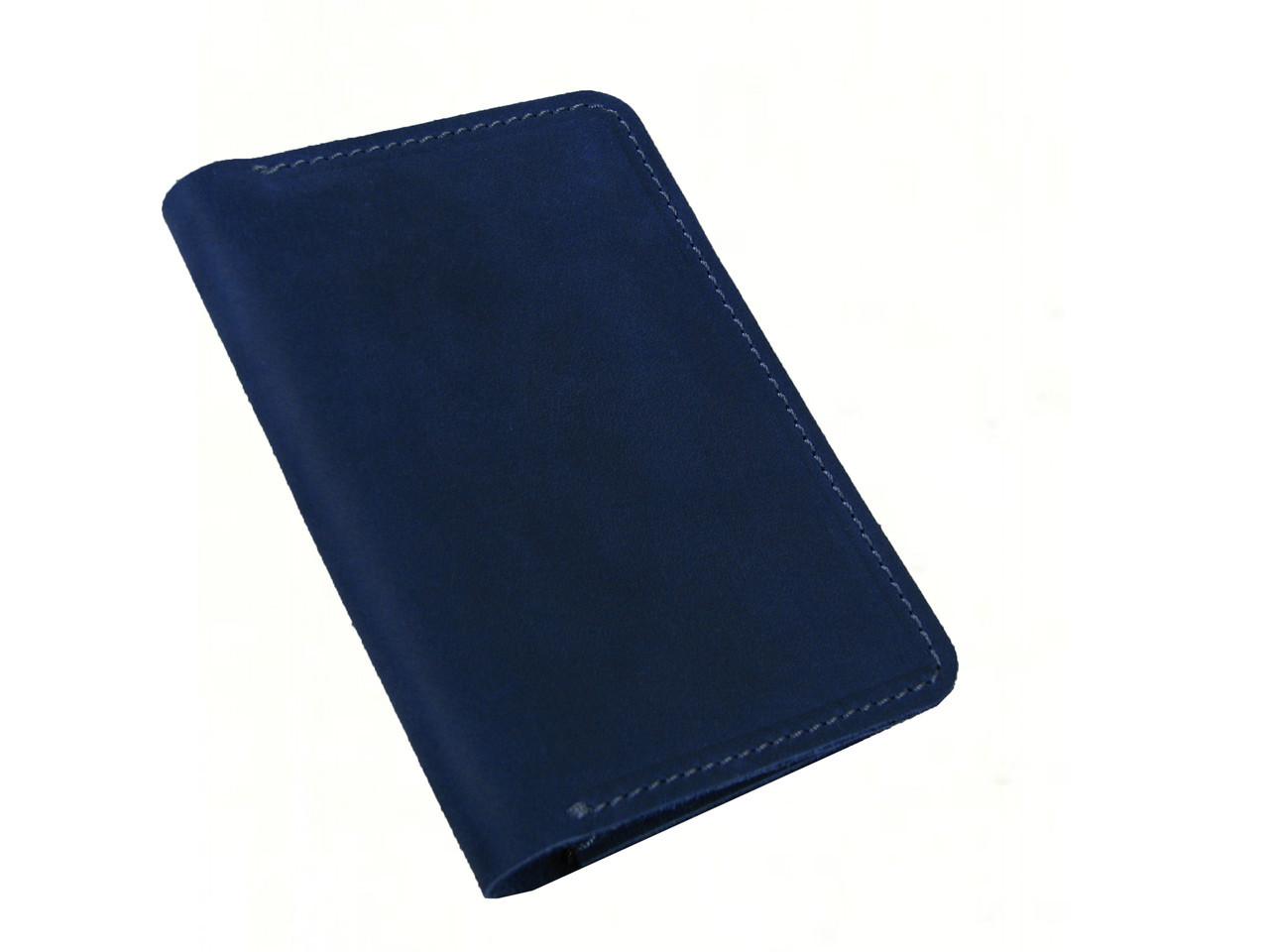 Обложка для паспорта GS кожаная синяя