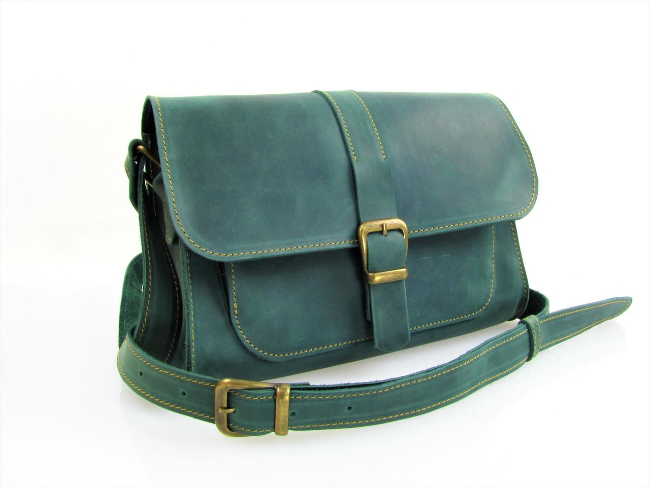 Женская кожаная сумка через плечо GS зеленая