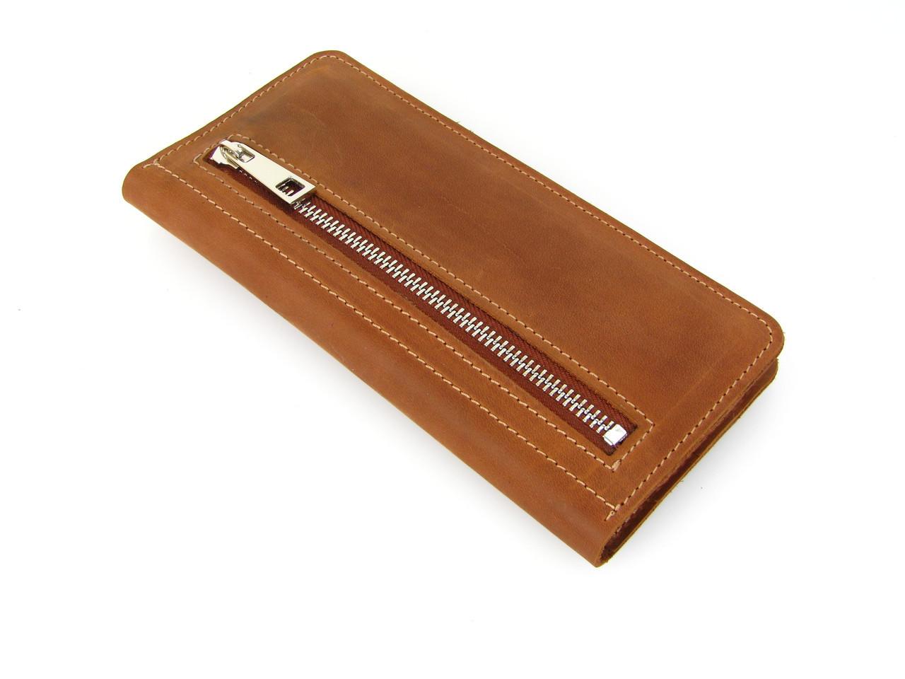 Мужской кожаный кошелек купюрник GS рыжий