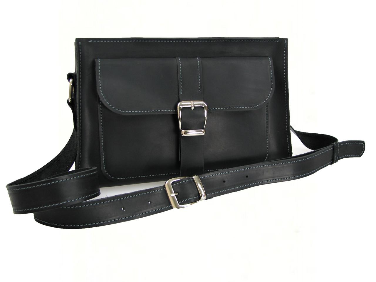 Женская кожаная сумка через плечо GS черная