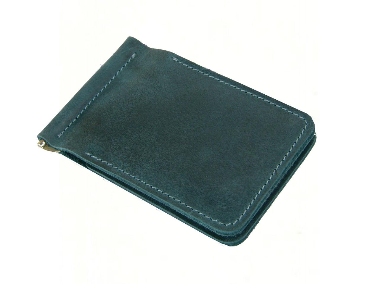 Мужской тонкий кошелек с зажимом для купюр GS кожаный зеленый