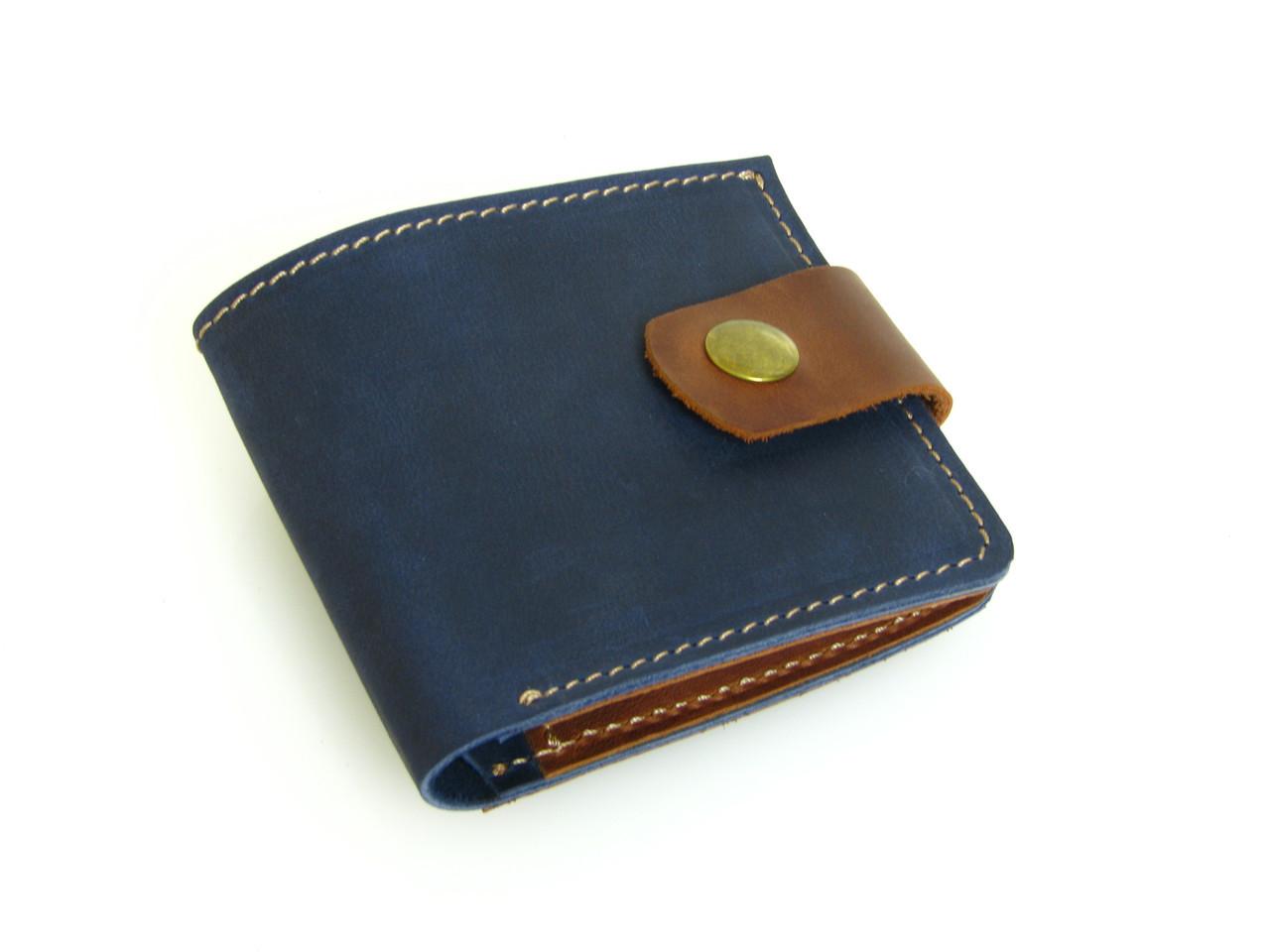 Женский кожаный кошелек бумажник GS синий