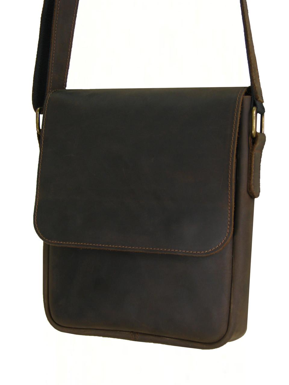 Мужская кожаная сумка через плечо GS коричневая
