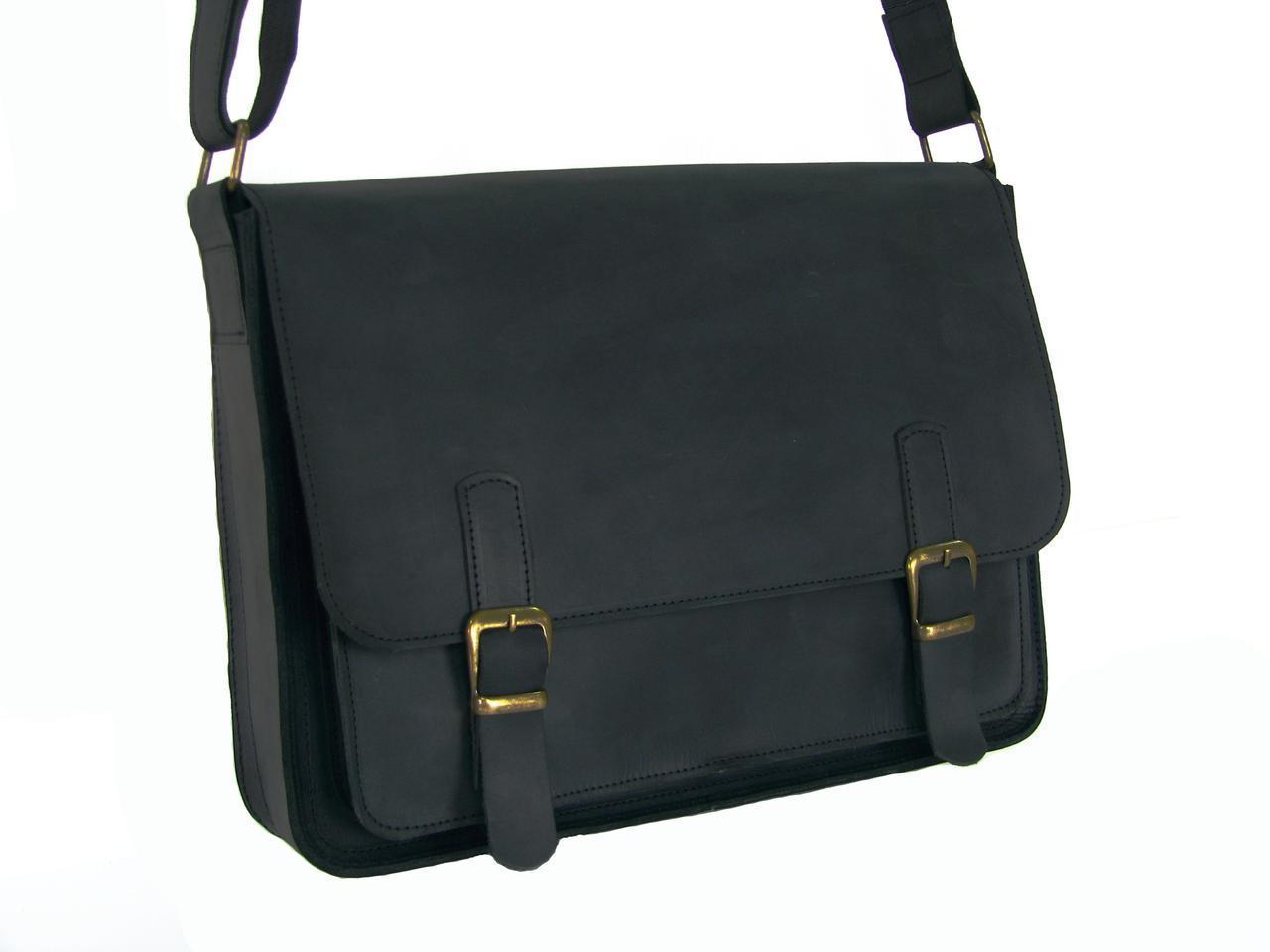 Мужская кожаная сумка для документов А4 и ноутбука GS черная