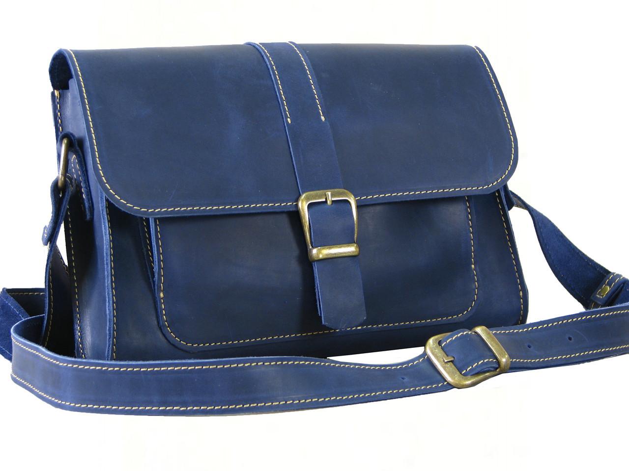 Женская сумка через плечо GS кожаная синяя
