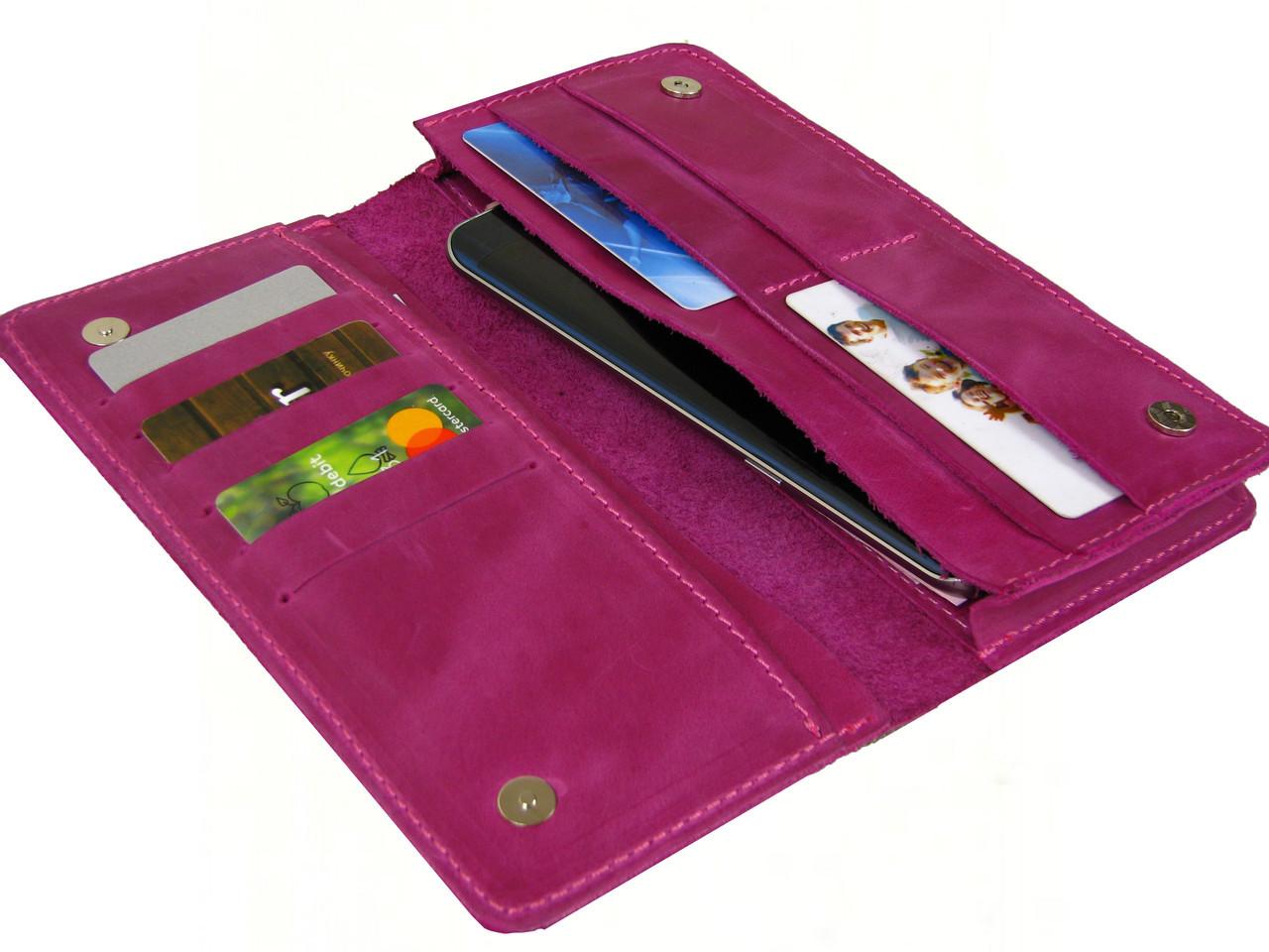 Женский кошелек - клатч GS кожаный розовый
