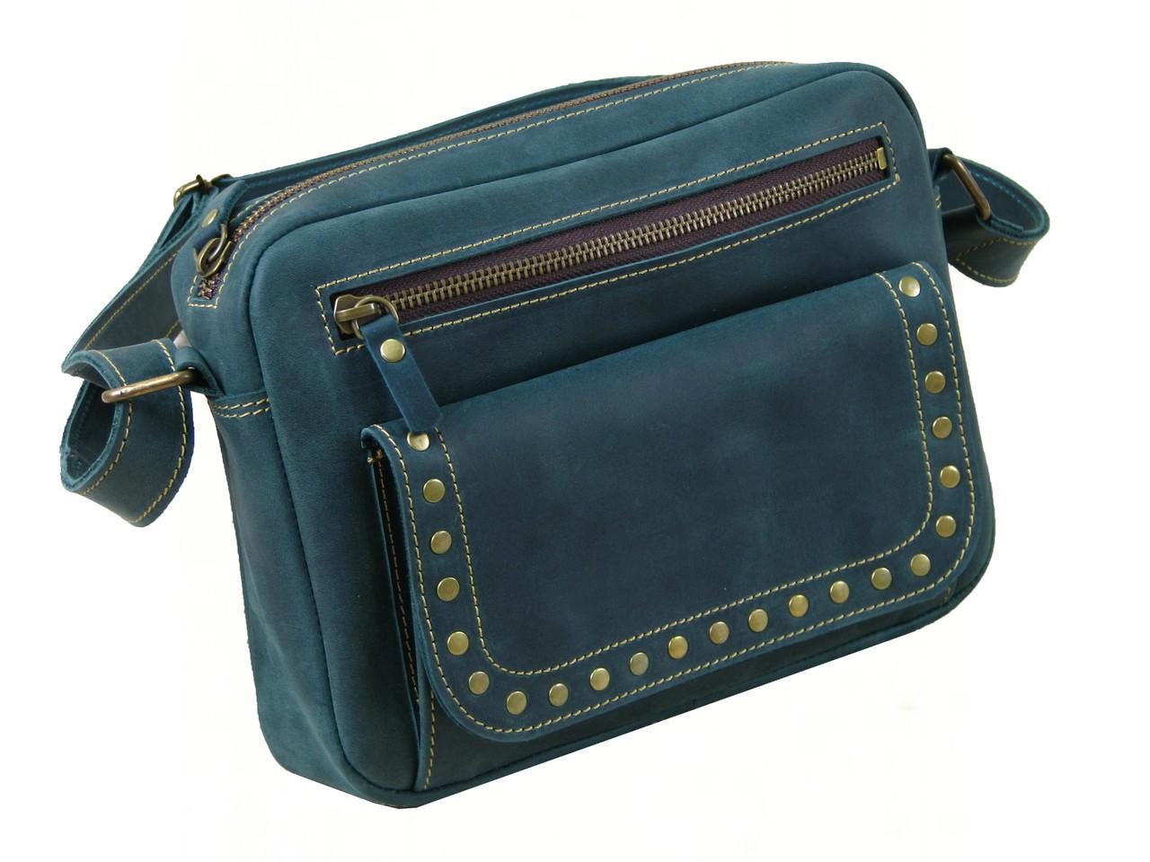 Женская повседневная сумка GS кожаная зеленая