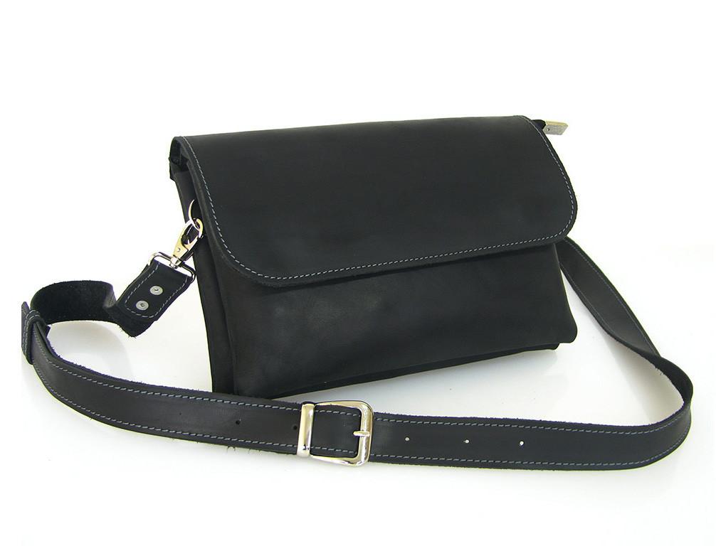 Женская сумка - клатч GS кожаная черная