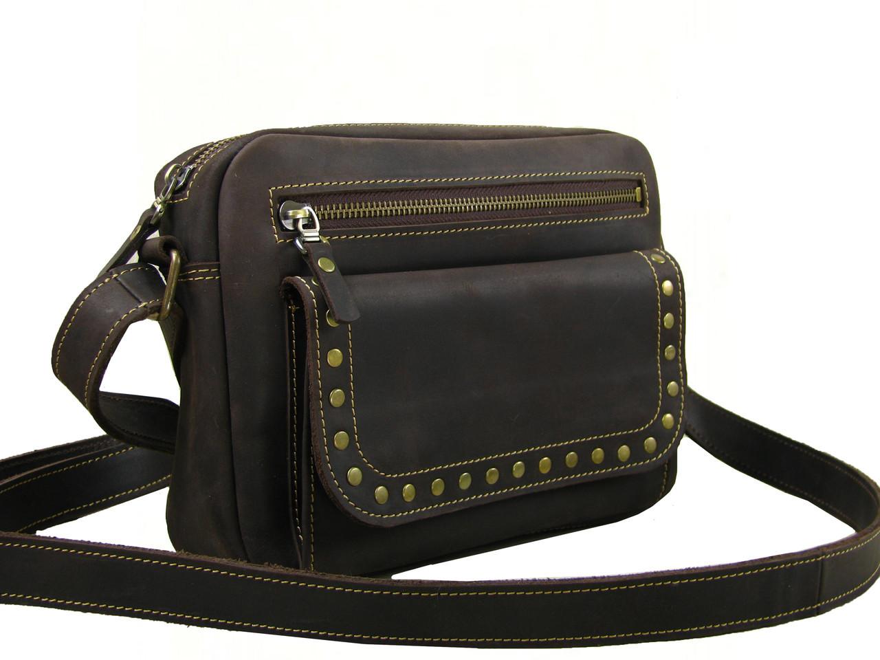 Женская повседневная сумка GS кожаная коричневая