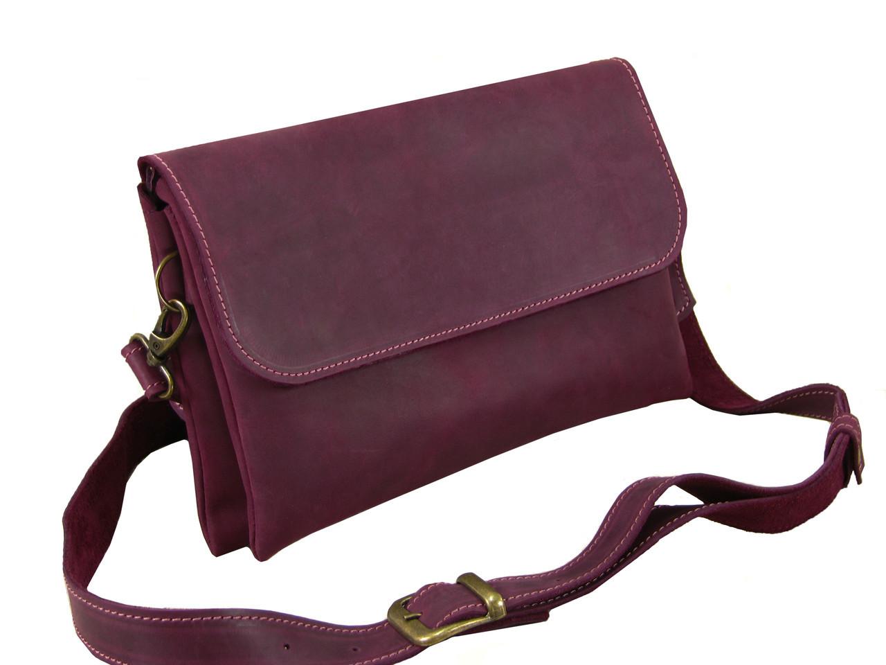 Женская сумка - клатч GS кожаная бордовая