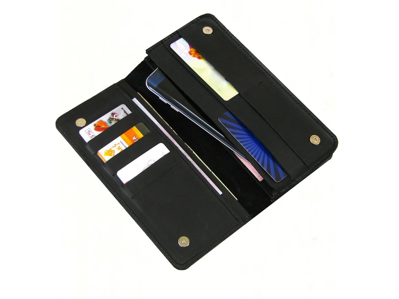 Мужской кошелек - клатч GS кожаный черный