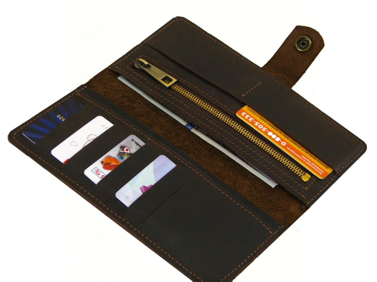Женский кошелек на кнопке GS кожаный коричневый