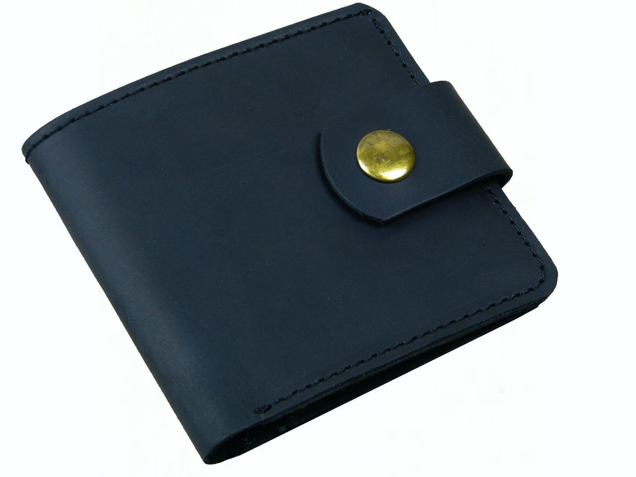 Мужской кожаный кошелек бумажник GS черный