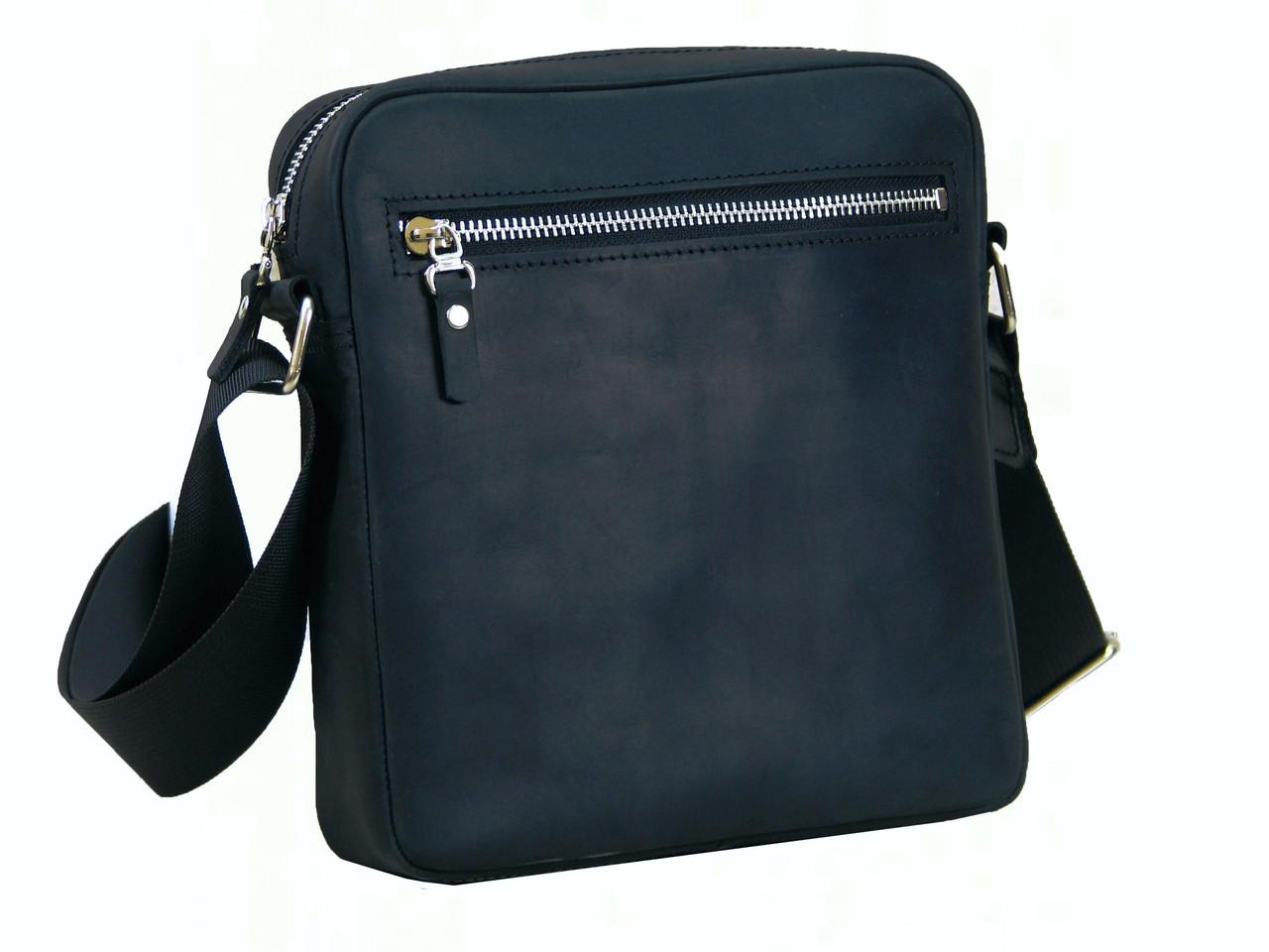 Мужская сумка на плечо GS кожаная черная