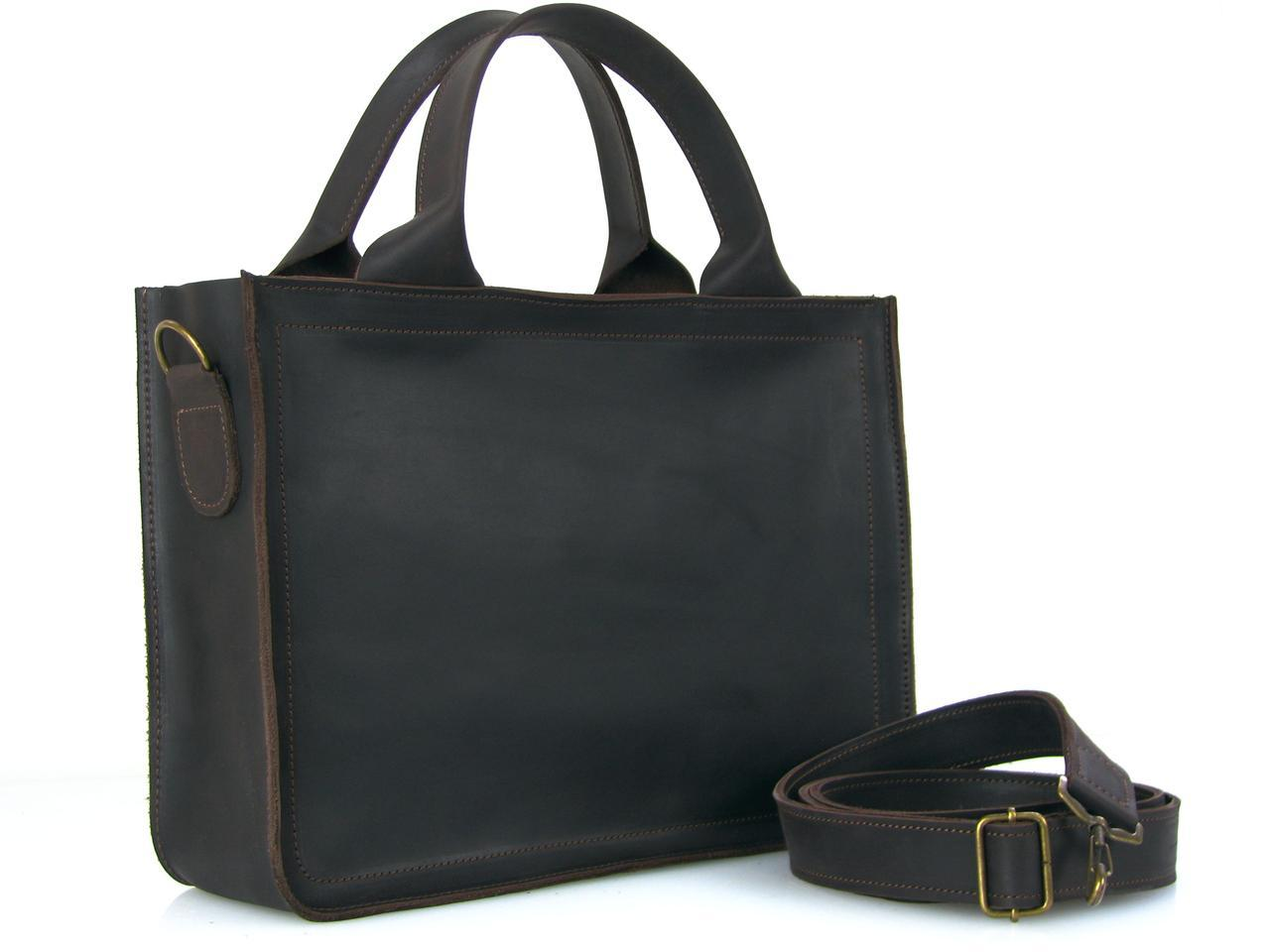 Кожаная сумка для документов GS коричневая