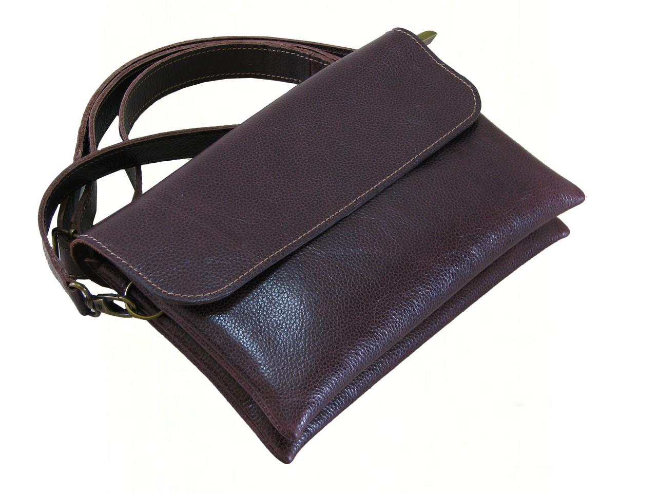 Небольшая кожаная женская сумка на плечо GS