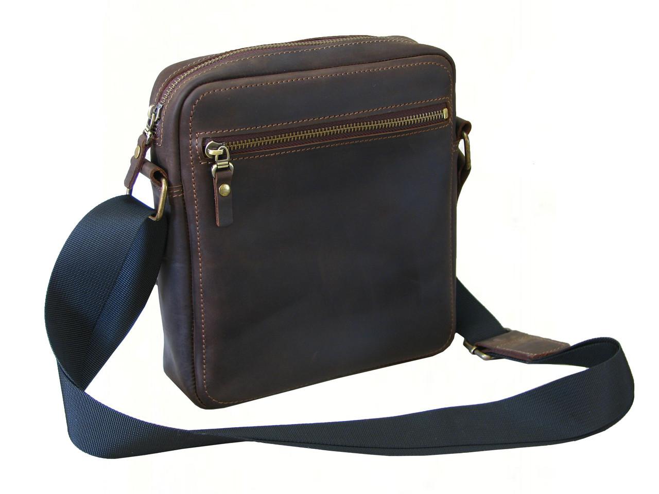 Мужская сумка на плечо GS кожаная коричневая