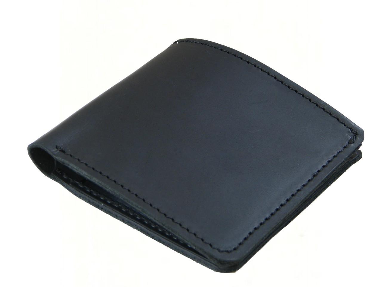 Кожаный тонкий бумажник GS черный