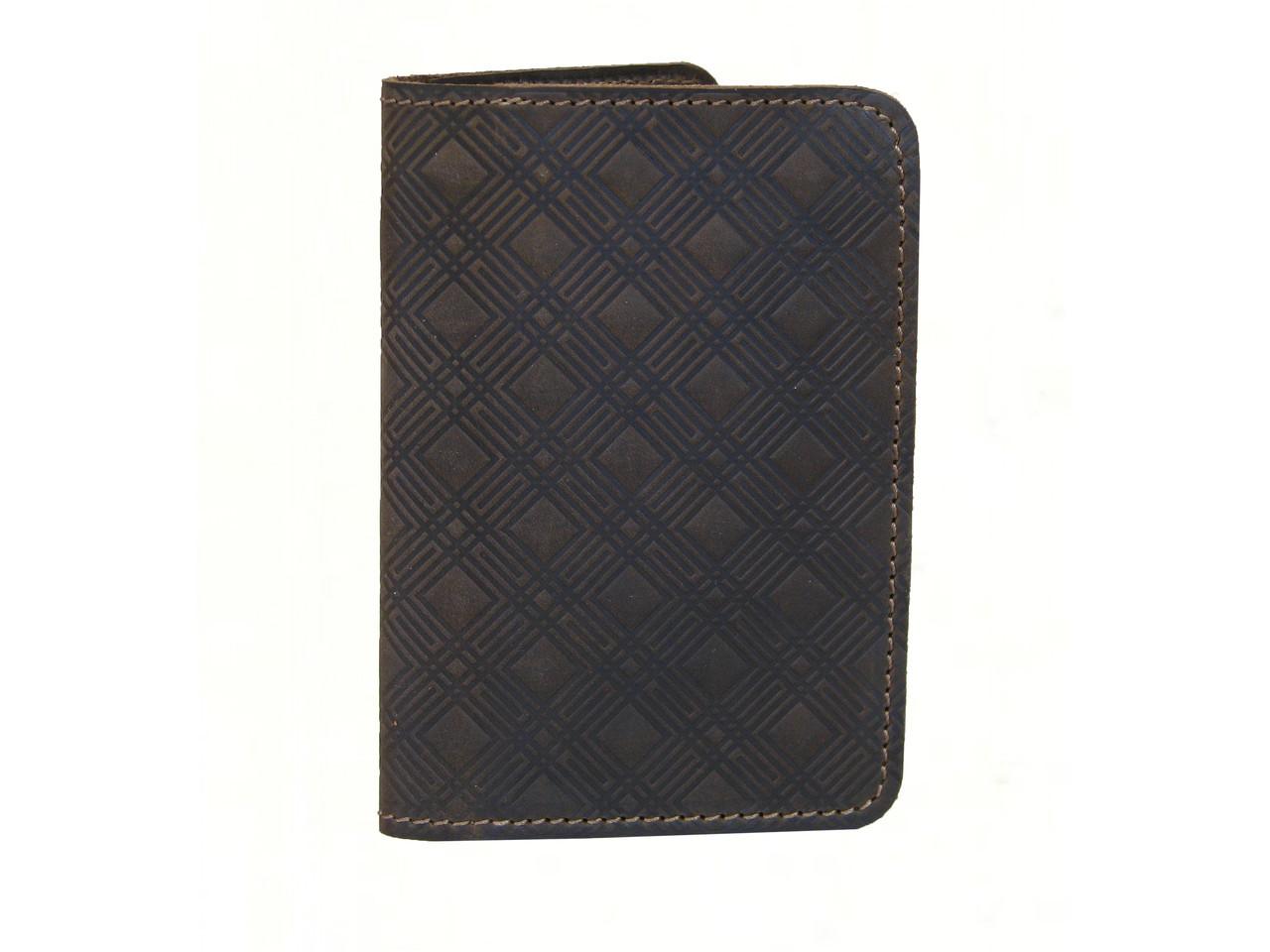 Обложка для паспорта с тиснением GS кожаная коричневая