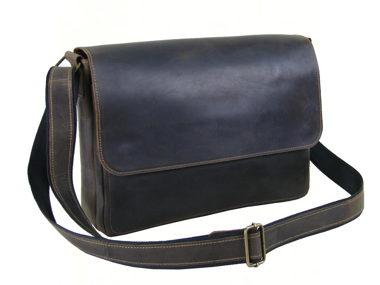 Кожаная сумка мессенджер для документов А4 GS коричневая