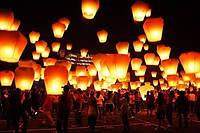 Небесные фонарики Комплект Микс 50шт Премиум качество (летающий горящий шар,светящийся шарик)