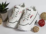 0350 Кроссовки Fila белые на высокой подошве, фото 2